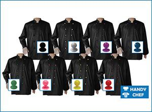 Long sleeve black jacket with coloured buttons