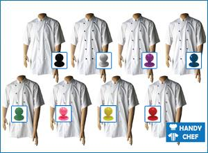 Short Sleeve White jackets with Coloured buttons