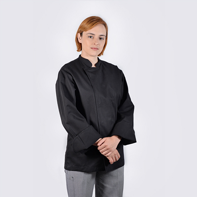 Chef jackets Black Long Sleeve with Stud Buttons