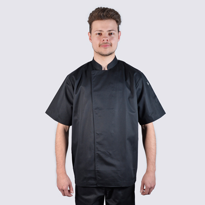 Chef jackets Black Short Sleeve with Stud Buttons