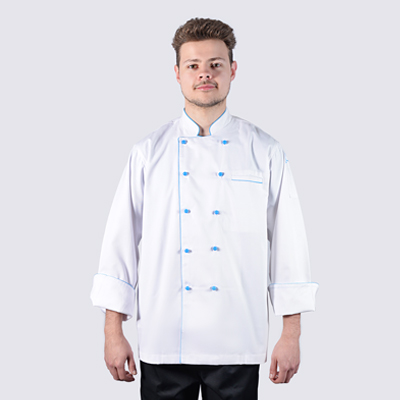 Chef Jackets with Blue Piping in Long Sleeve