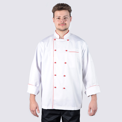 Chef Jackets Red Piping in Long Sleeve