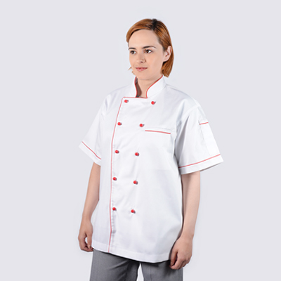 Chef Jackets Red Piping in Short Sleeve