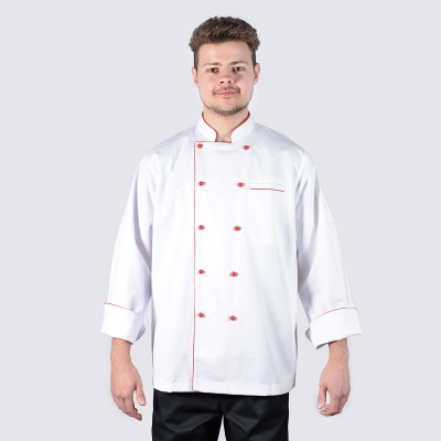 Executive Style Red Piping Long Sleeve Chef Jackets