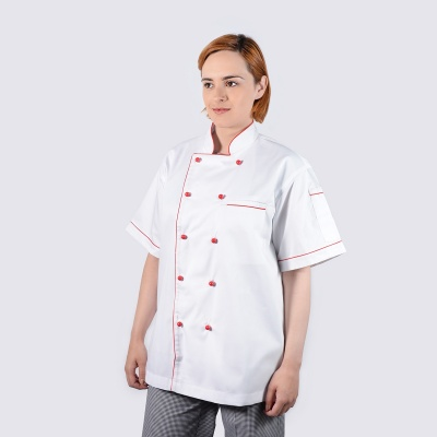 Executive Style Red Piping Short Sleeve Chef Jackets