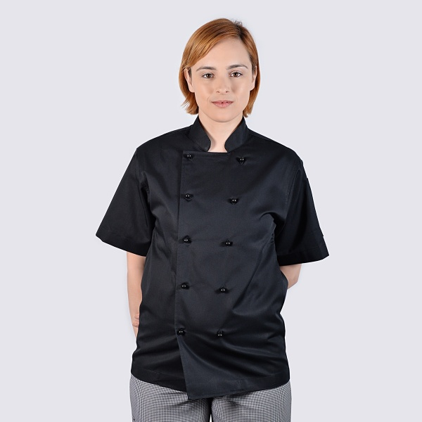 black chef jackets short sleeve black buttons