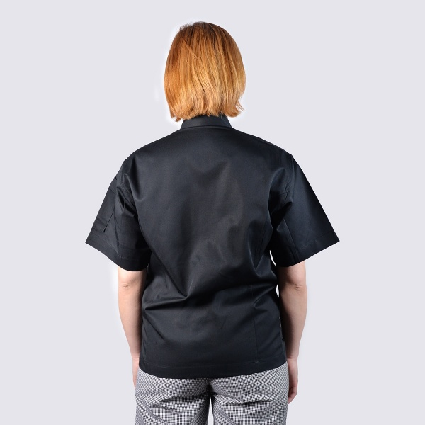 chef jackets black in short sleeve - back