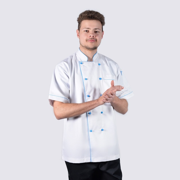 Executive Style Aqua Blue Piping Short Sleeve Chef Jackets