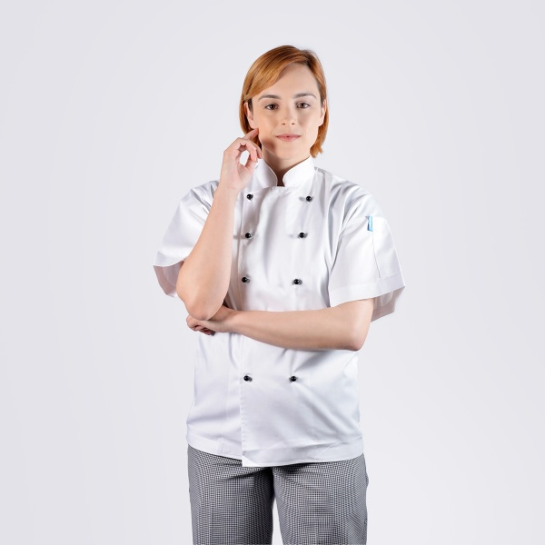100% cotton luxurious chef jackets white short sleeve black buttons