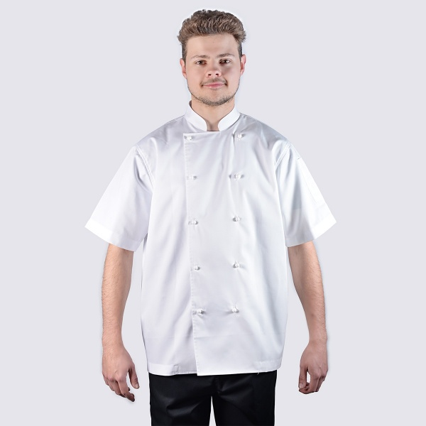 chef jackets white short sleeve with white buttons