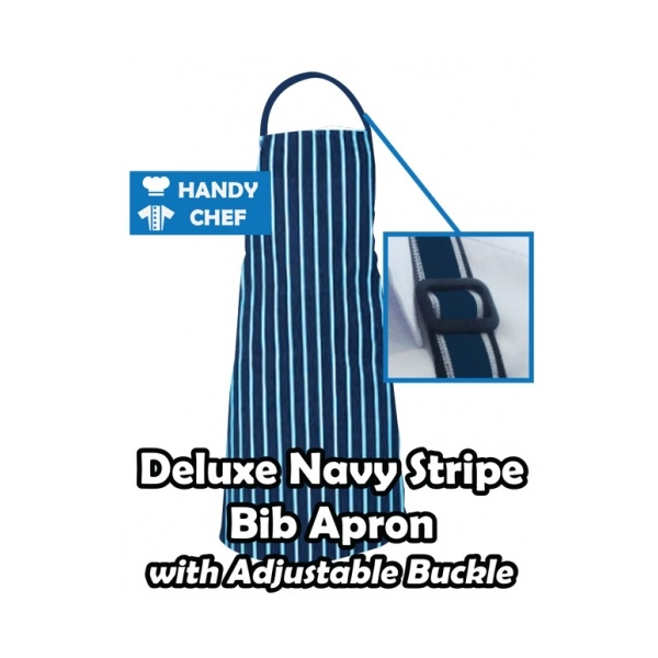 Pinstripe Bib Aprons Navy & White with Adjustable Buckle