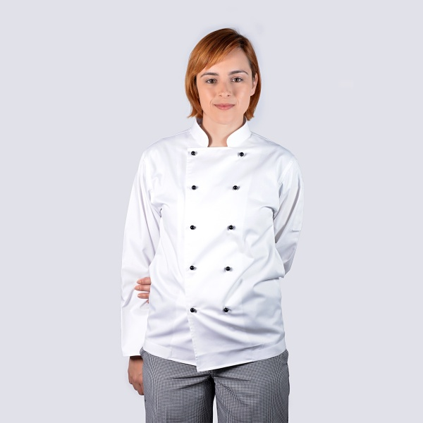 white long sleeve chef jacket with black buttons